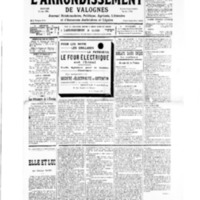 Le Journal de l'arrondissement de Valognes, numéro du 23 mars 1935