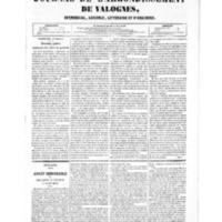 Le Journal de l'arrondissement de Valognes, numéro du 02 janvier 1852