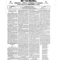 Le Journal de l'arrondissement de Valognes, numéro du 22 septembre 1854