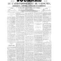 Le Journal de l'arrondissement de Valognes, numéro du 29 janvier 1858