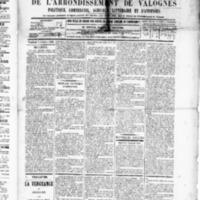 Le Journal de l'arrondissement de Valognes, numéro du 03 octobre 1890