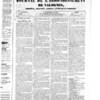 Le Journal de l'arrondissement de Valognes, numéro du 13 septembre 1850