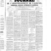 Le Journal de l'arrondissement de Valognes, numéro du 25 avril 1856