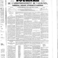 Le Journal de l'arrondissement de Valognes, numéro du 07 mars 1856
