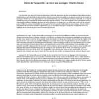 Alexis de Tocqueville : sa vie et ses ouvrages  / par Charles Savary,..