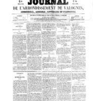 Le Journal de l'arrondissement de Valognes, numéro du 08 janvier 1858