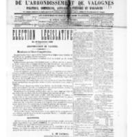 Le Journal de l'arrondissement de Valognes, numéro du 13 septembre 1889