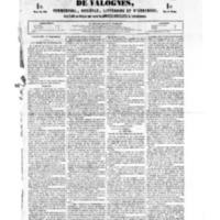 Le Journal de l'arrondissement de Valognes, numéro du 01 septembre 1854