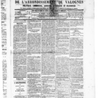 Le Journal de l'arrondissement de Valognes, numéro du 11 octobre 1889