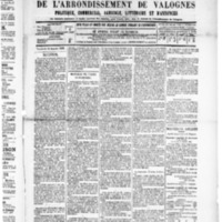 Le Journal de l'arrondissement de Valognes, numéro du 25 janvier 1889