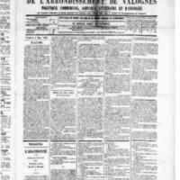 Le Journal de l'arrondissement de Valognes, numéro du 08 mars 1889