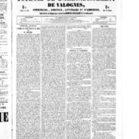 Le Journal de l'arrondissement de Valognes, numéro du 29 octobre 1852