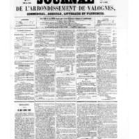 Le Journal de l'arrondissement de Valognes, numéro du 14 janvier 1859