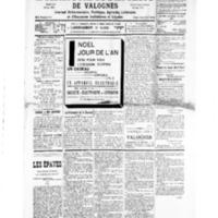 Le Journal de l'arrondissement de Valognes, numéro du 28 décembre 1935
