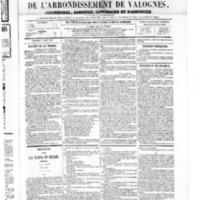 Le Journal de l'arrondissement de Valognes, numéro du 11 août 1865
