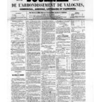 Le Journal de l'arrondissement de Valognes, numéro du 02 septembre 1859