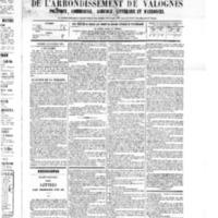 Le Journal de l'arrondissement de Valognes, numéro du 26 novembre 1875