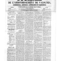 Le Journal de l'arrondissement de Valognes, numéro du 29 juillet 1859