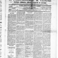 Le Journal de l'arrondissement de Valognes, numéro du 29 mars 1889