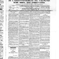 Le Journal de l'arrondissement de Valognes, numéro du 19 novembre 1875