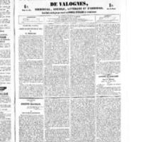 Le Journal de l'arrondissement de Valognes, numéro du 09 juillet 1852