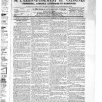 Le Journal de l'arrondissement de Valognes, numéro du 28 novembre 1873
