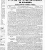 Le Journal de l'arrondissement de Valognes, numéro du 30 janvier 1852