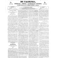 Le Journal de l'arrondissement de Valognes, numéro du 27 janvier 1854