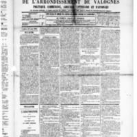 Le Journal de l'arrondissement de Valognes, numéro du 23 août 1889