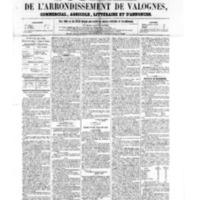 Le Journal de l'arrondissement de Valognes, numéro du 15 avril 1859