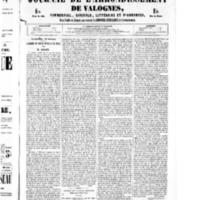 Le Journal de l'arrondissement de Valognes, numéro du 22 octobre 1852