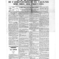 Le Journal de l'arrondissement de Valognes, numéro du 12 novembre 1875