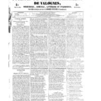 Le Journal de l'arrondissement de Valognes, numéro du 27 octobre 1854