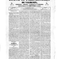 Le Journal de l'arrondissement de Valognes, numéro du 06 janvier 1854
