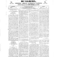 Le Journal de l'arrondissement de Valognes, numéro du 24 février 1854