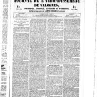 Le Journal de l'arrondissement de Valognes, numéro du 15 octobre 1852