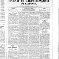 Le Journal de l'arrondissement de Valognes, numéro du 09 janvier 1852