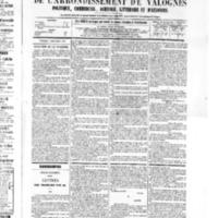 Le Journal de l'arrondissement de Valognes, numéro du 03 décembre 1875
