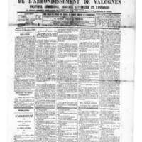 Le Journal de l'arrondissement de Valognes, numéro du 20 décembre 1889