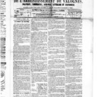 Le Journal de l'arrondissement de Valognes, numéro du 27 février 1885