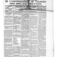 Le Journal de l'arrondissement de Valognes, numéro du 30 août 1889