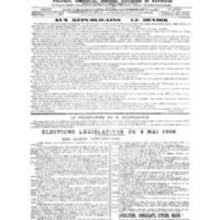 Le Journal de l'arrondissement de Valognes, numéro du 20 avril 1906