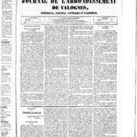 Le Journal de l'arrondissement de Valognes, numéro du 13 février 1852