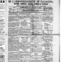 Le Journal de l'arrondissement de Valognes, numéro du 03 septembre 1880
