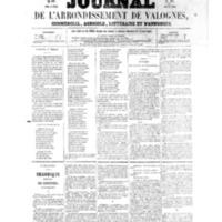 Le Journal de l'arrondissement de Valognes, numéro du 01 janvier 1858