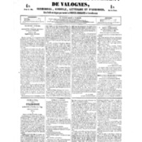 Le Journal de l'arrondissement de Valognes, numéro du 03 février 1854