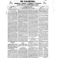 Le Journal de l'arrondissement de Valognes, numéro du 08 septembre 1854