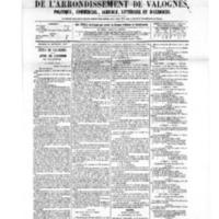 Le Journal de l'arrondissement de Valognes, numéro du 14 septembre 1877