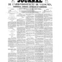 Le Journal de l'arrondissement de Valognes, numéro du 09 avril 1858